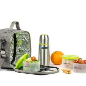 סט תיק תרמי: תרמוס + 3 מיכלי מזון